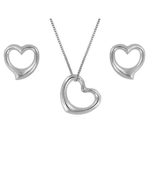 Ib&b | Metallic 9ct White Gold Heart Necklace And Stud Earrings Set | Lyst