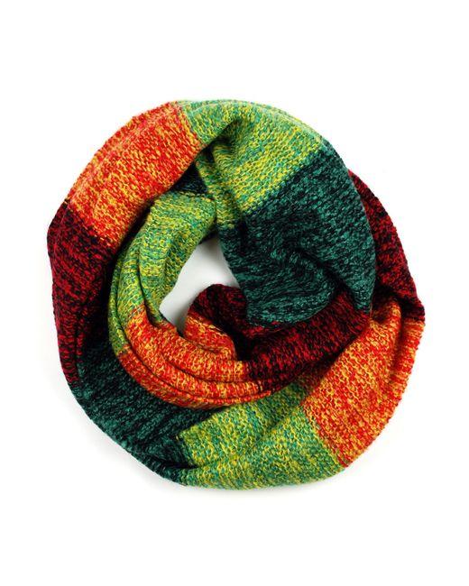 Michael Stars | Green Knit Acrylic Stripe Eternity Scarf | Lyst
