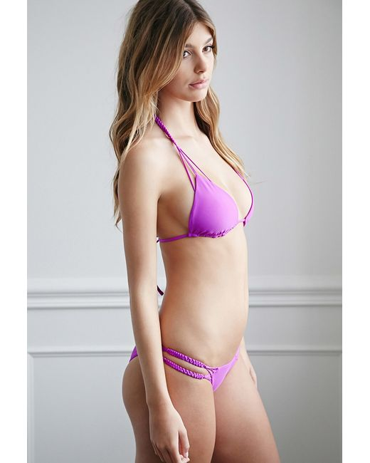 Forever 21 | Purple Braided Cheeky Bikini Bottoms | Lyst