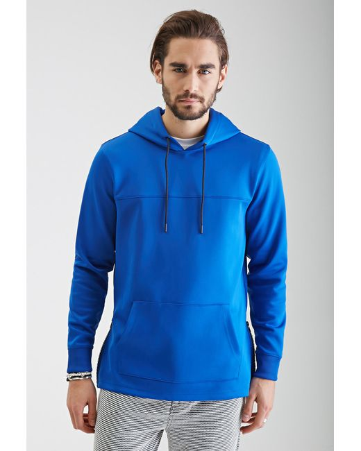 Zippered Hoodie Knitting Pattern : Forever 21 Zippered Scuba Knit Hoodie in Blue for Men Lyst