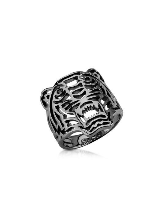 kenzo ruthenium plated sterling silver cut out small tiger