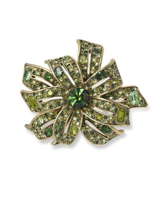 Kenneth Jay Lane | Gold Multi Green Flower Brooch | Lyst