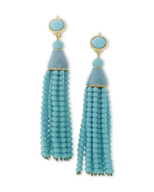 Kenneth Jay Lane | Blue Turquoise Tassel Clip Earring | Lyst
