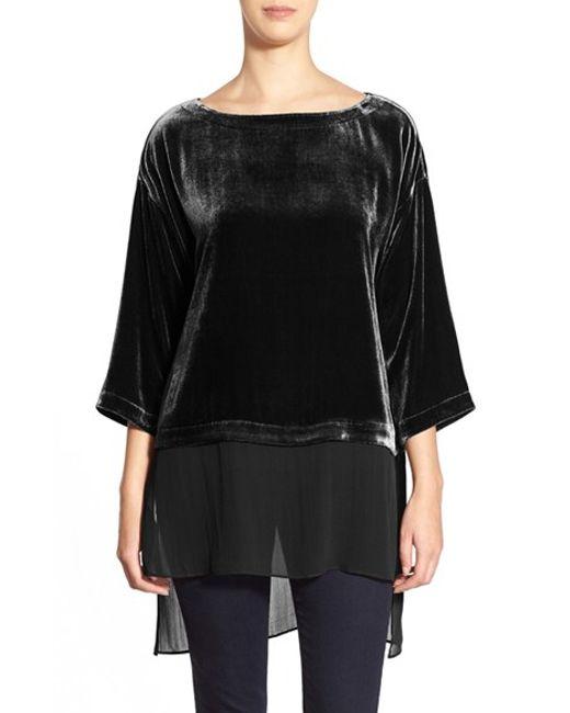 Eileen Fisher | Black Bateau Neck Velvet Top | Lyst