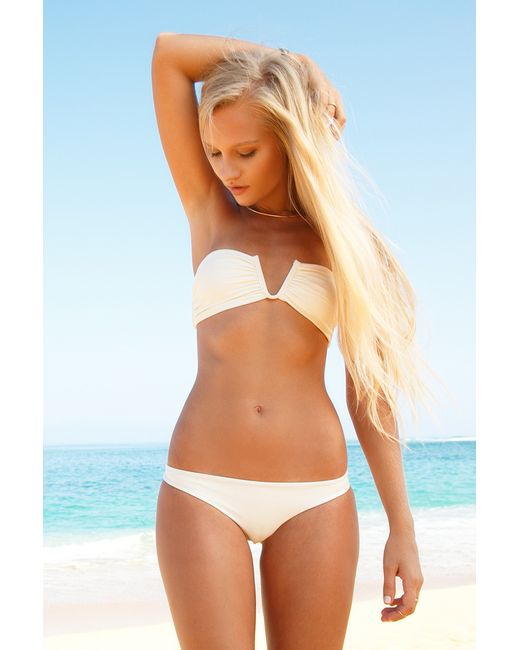 mikoh swimwear reunion bikini top in white bone lyst