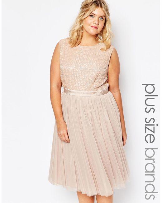 lovedrobe embellished tulle skirt midi dress in pink mink