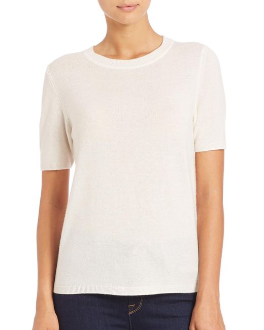 Saks Fifth Avenue | White Wool & Cashmere Lace-panel Sweater | Lyst