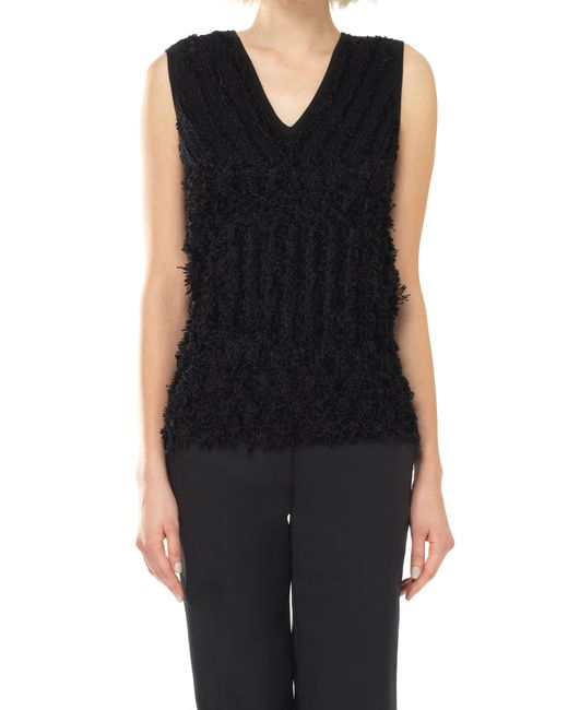 Knitting Pattern For Sleeveless Sweater : Leon max Textural Knitted Sleeveless V-neck Sweater in Black Lyst