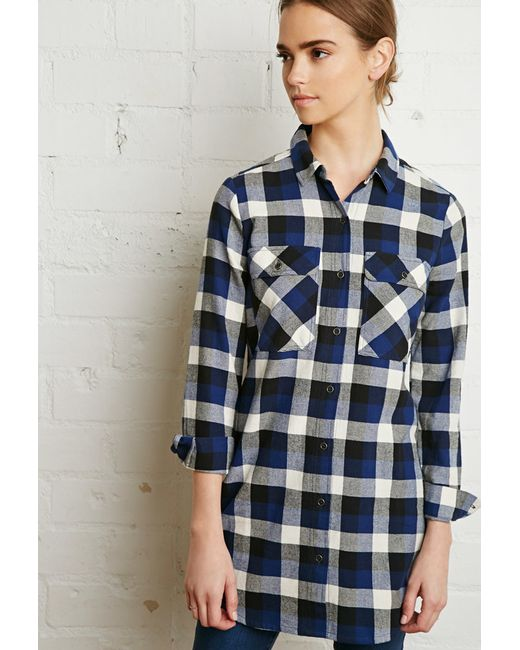 Forever 21 Buffalo Plaid Shirt Dress In Blue Royal Ivory