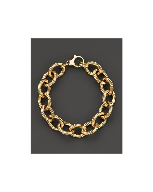 Roberto Coin | Metallic 18k Yellow Gold Textured Oval Link Bracelet - Bloomingdale's Exclusive | Lyst