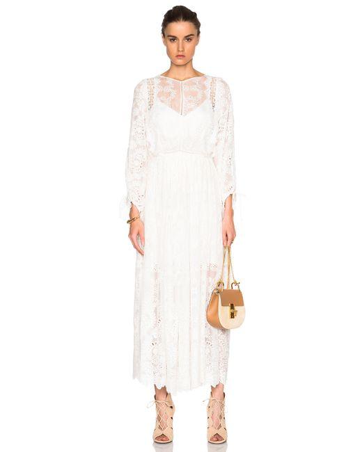 Zimmermann alchemy embroidered dress in white save