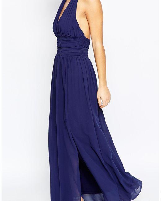 Tfnc london wedding halter chiffon maxi dress navy in for Navy maxi dresses for weddings