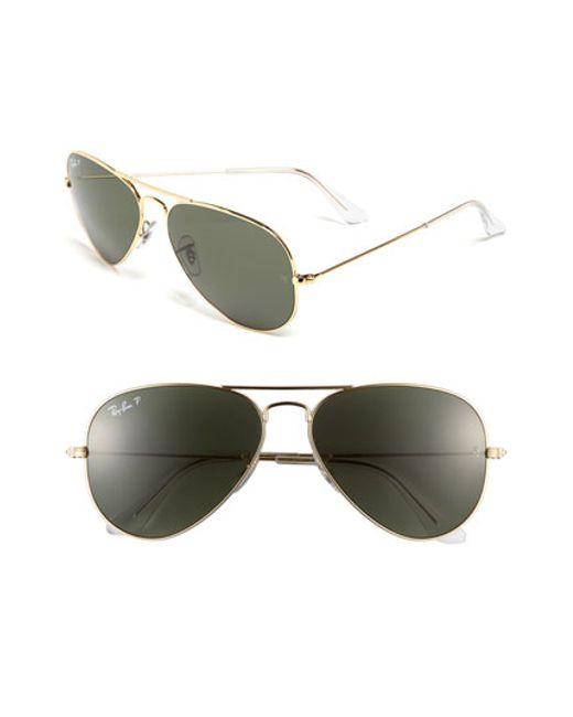 Ray-Ban | Metallic 'original Aviator' 58mm Polarized Sunglasses | Lyst