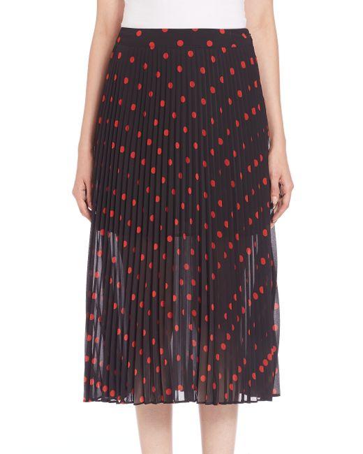 mcq pleated polka dot skirt in white black save 60