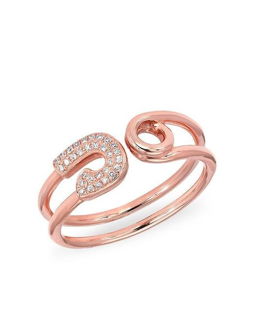 Anne Sisteron - Pink 14kt Rose Gold Safety Pin Wrap Diamond Ring - Lyst