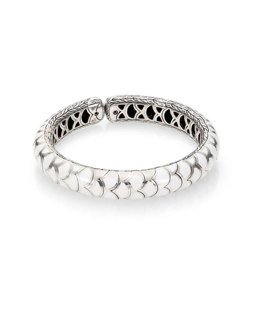 John Hardy | Metallic Naga Enamel Sterling Silver Slim Flex Cuff Braceletwhite | Lyst