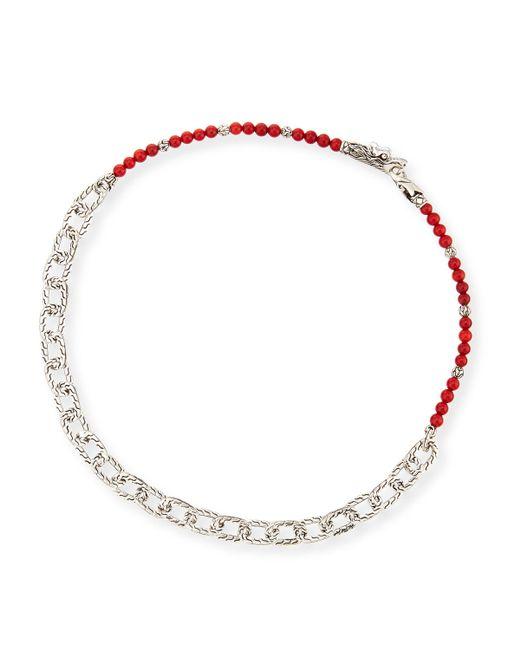 John Hardy | Men's Naga Red Coral Beads & Chain Wrap Bracelet for Men | Lyst