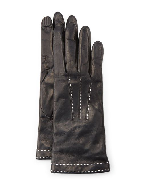 Portolano | Black Stitch-detail Leather Gloves | Lyst
