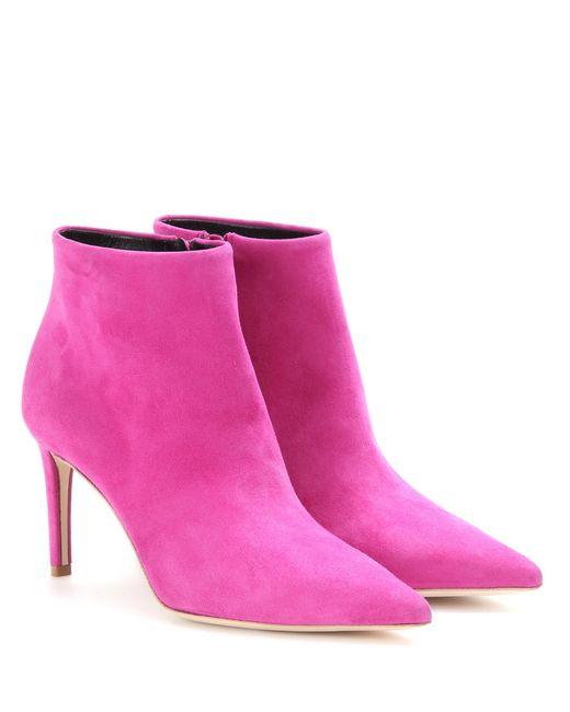 balenciaga suede ankle boots in pink lyst