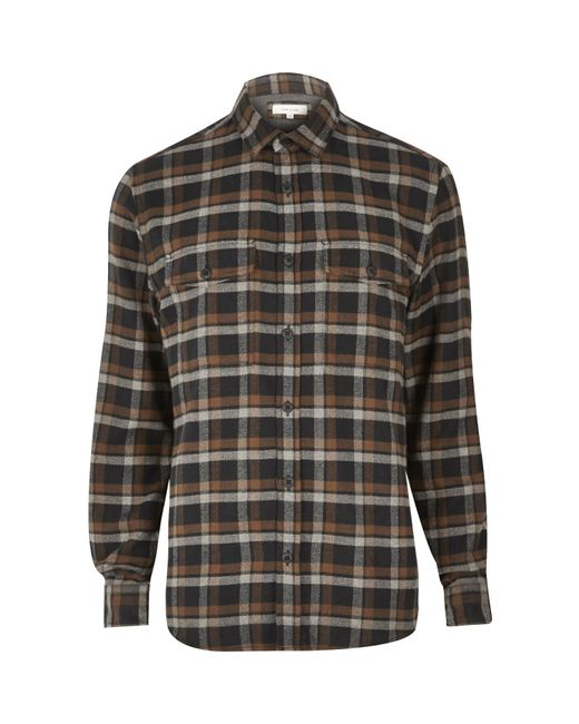 River island brown soft flannel shirt in brown for men for Ladies soft flannel shirts