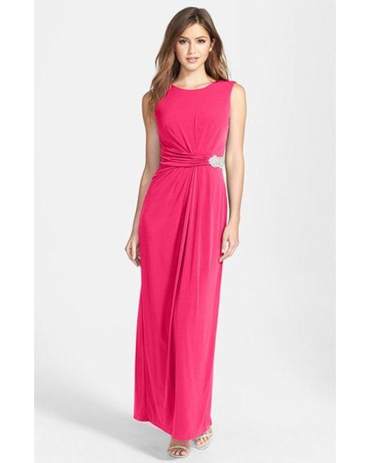 Ellen Tracy | Pink Embellished Waist Drape Back Jersey Gown | Lyst
