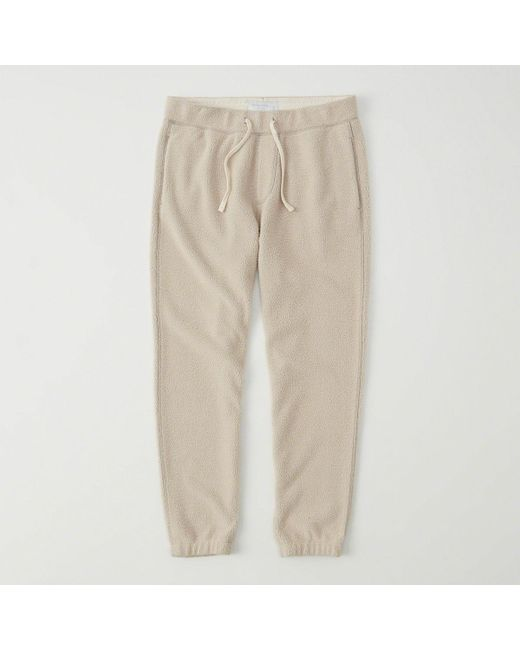 Abercrombie & Fitch | Natural Sherpa Fleece Joggers | Lyst