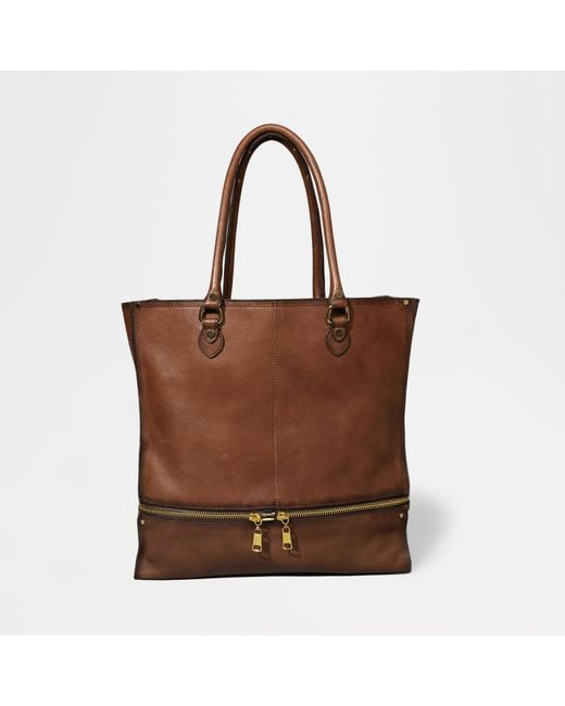 Abercrombie & Fitch | Brown Leather Expandable Tote | Lyst