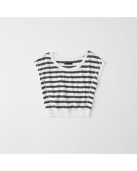 Abercrombie & Fitch - White Smocked-hem Tee - Lyst
