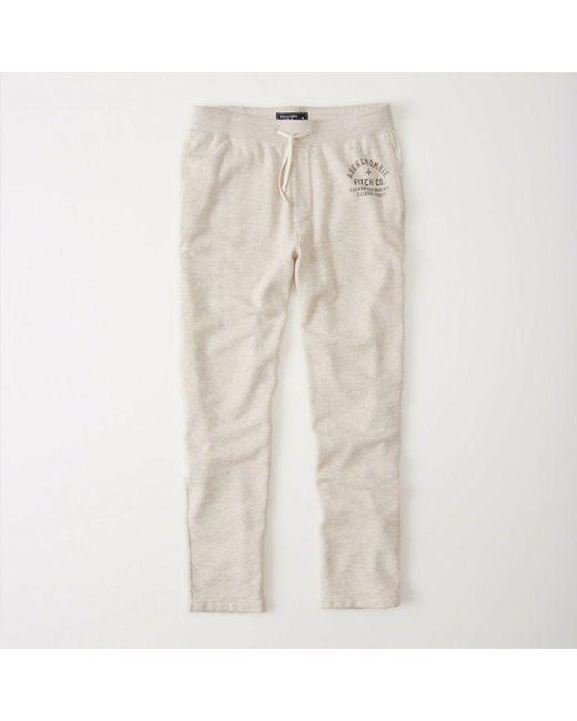 Abercrombie & Fitch - Natural Fleece Logo Pants - Lyst