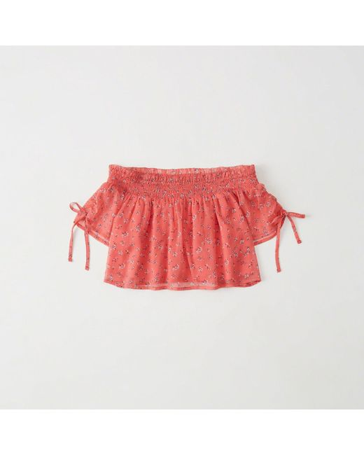 Abercrombie & Fitch - Red Off-the-shoulder Blouse - Lyst