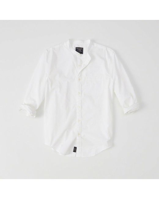 Abercrombie & Fitch - White Banded Collar Poplin Shirt for Men - Lyst
