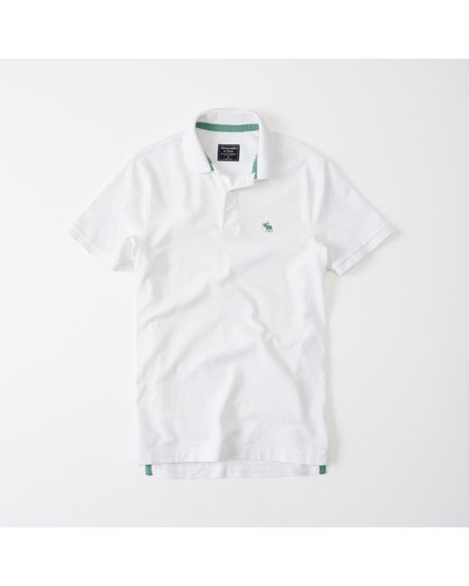 Abercrombie & Fitch | White Stretch Pop Icon Polo for Men | Lyst
