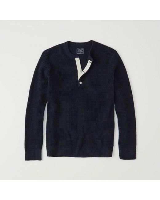 Abercrombie & Fitch - Blue Waffle Henley Sweater Exchange Color / Size for Men - Lyst
