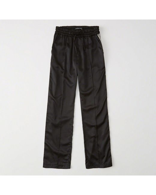 Abercrombie & Fitch - Black High Rise Wide-leg Track Pants - Lyst
