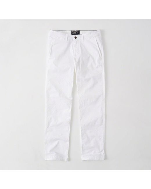 Abercrombie & Fitch - White Straight Chino Pants - Lyst