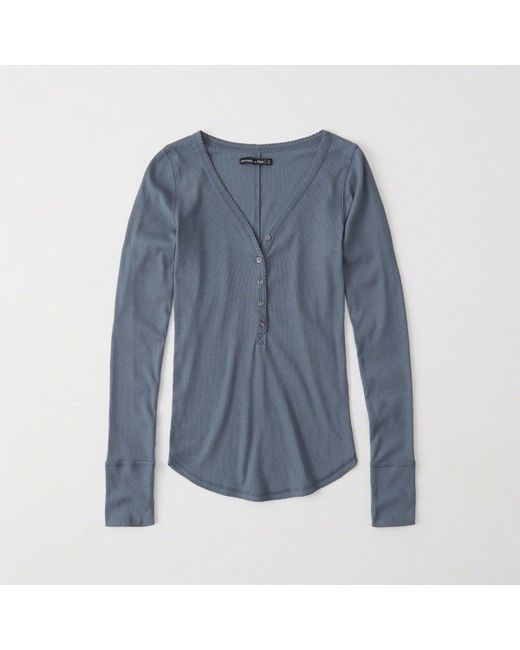 Abercrombie & Fitch - Blue Ribbed Henley - Lyst
