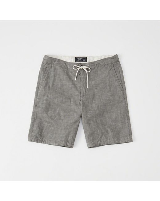 Abercrombie & Fitch - Gray Pull-on Plainfront Shorts for Men - Lyst