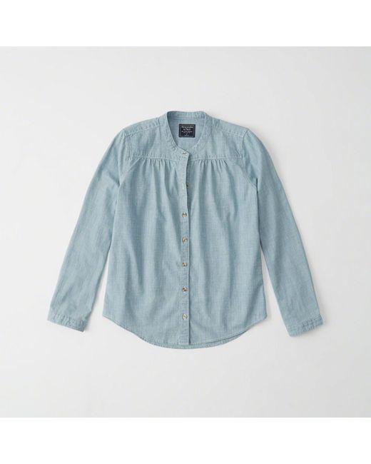 Abercrombie & Fitch | Blue Chambray Mandarin Collar Shirt | Lyst