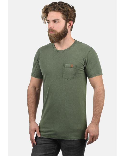 Solid Rundhalsshirt 'Jack' in Green für Herren