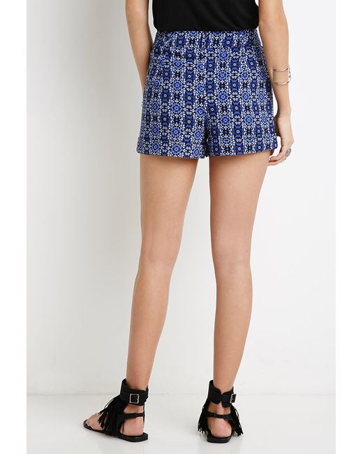Forever 21 | Blue Ornate Floral Print Shorts | Lyst
