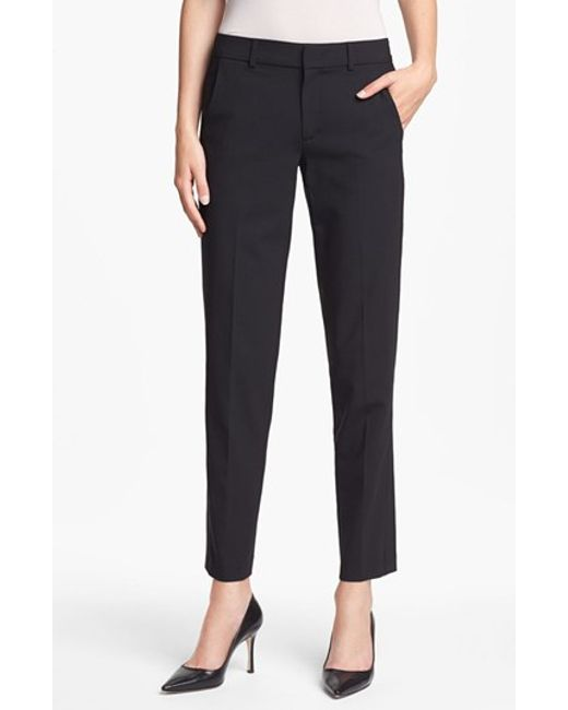 VINCE   Black 'strapping' Stretch Wool Trousers   Lyst