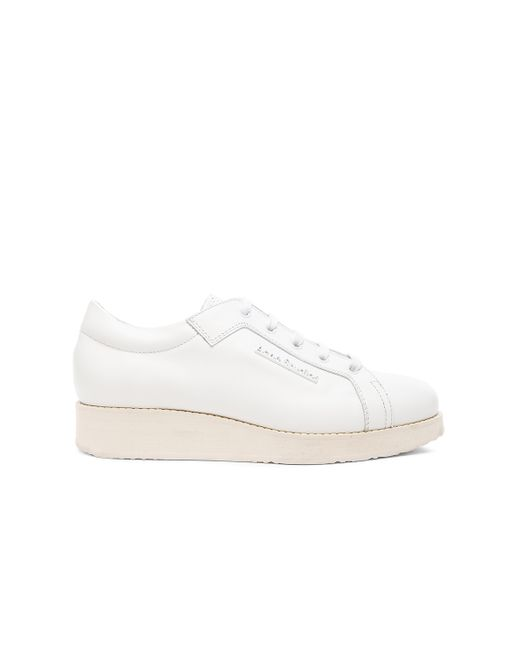 Acne | White Kobe Leather Low-Top Sneakers | Lyst