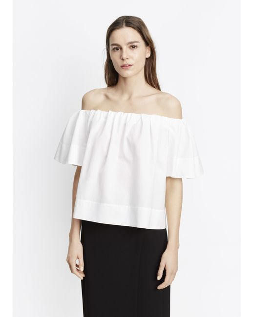 vince off the shoulder blouse in white off white lyst. Black Bedroom Furniture Sets. Home Design Ideas