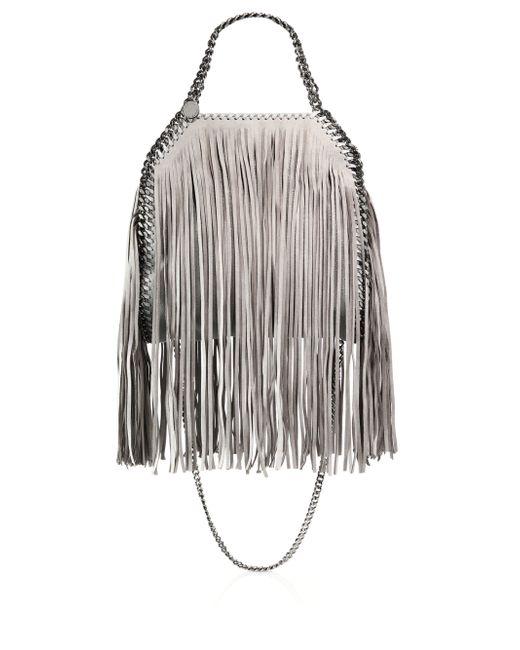 Stella McCartney | Gray Falabella Mini Baby Bella Metallic Fringed Faux Suede Shoulder Bag | Lyst