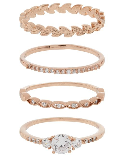 Accessorize - Metallic Rose Gold 4x Pretty Vine Stacking Ring Set - Lyst