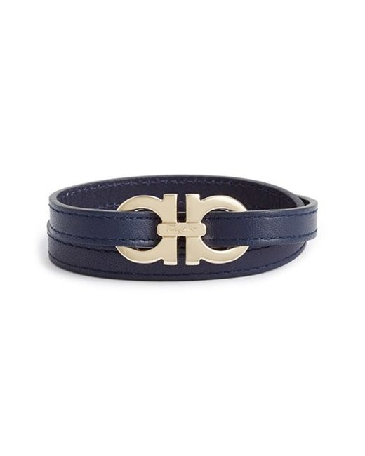 Ferragamo | Blue Leather Wrap Bracelet for Men | Lyst
