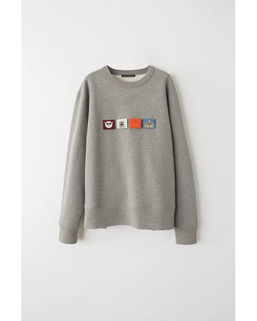 0662eaeeeb08 Acne - Gray Fa-ux-swea000018 Light Grey Melange Regular Fit Sweatshirt for  Men ...