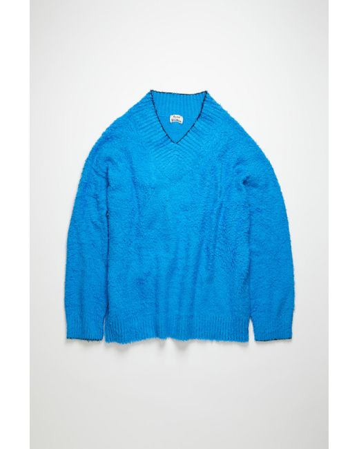 Acne Fn-wn-knit000187 Bright Blue Brushed V-neck Sweater