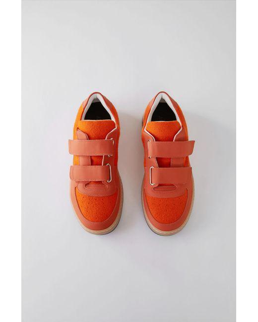Acne - Velcro Sneakers bright Orange/white - Lyst