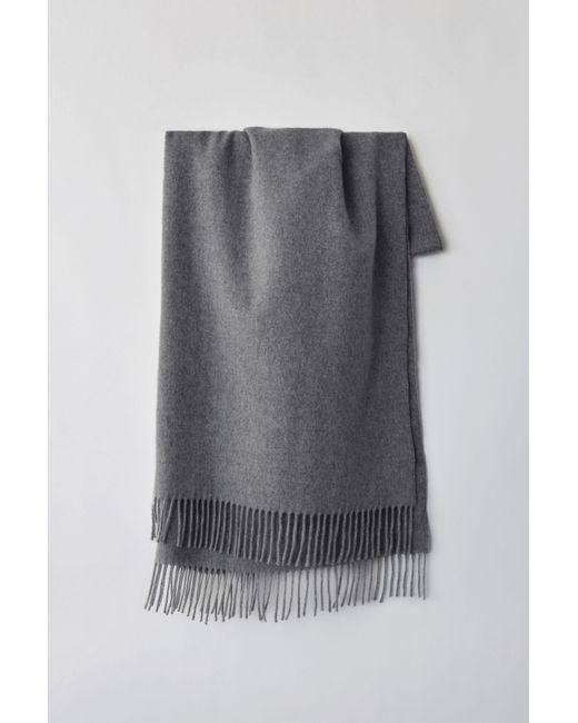 Acne Gray Narrow Fringed Scarf grey Melange